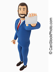 A drawn cartoon businessman is holding a business card. 3D rendering