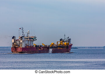 Dredging Ship in Harbor