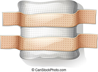 Illustration of a dressing with a plaster on a white background