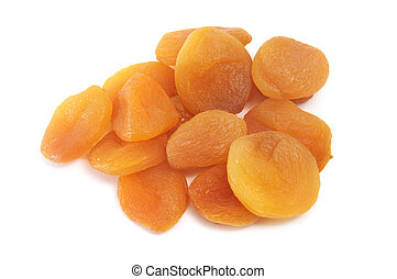 a dried peaches on a white background