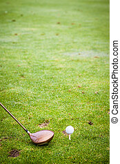 A driver club and a golf ball on the field