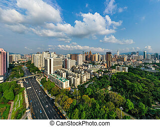 shenzhen city - A drone aerial view of the shenzhen city