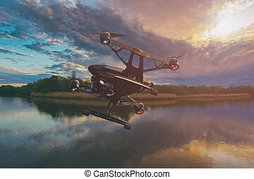 A drone flying over lake at sunset with colourful sky full of clouds