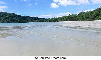 A drone shot of the shoreline