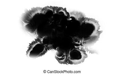 A drop of black ink spreads over the surface of the white...