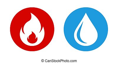 A drop of water and fire flame vector icons.