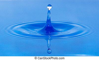 a drop of water falling in blue water
