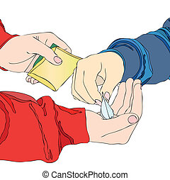 A drug dealer - A boy meets his pusher and pay for a packet ...