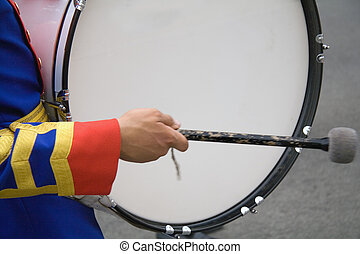 A drummer in a military band