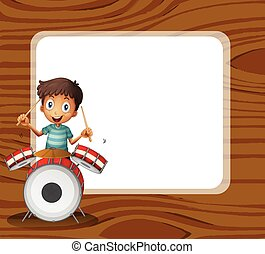 A drummer in front of the empty signboard