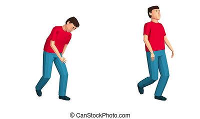 A drunk man walks. A proud walk. 3d low-poly looped...