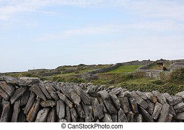A Dry Stone Wall Against a Blue Sky