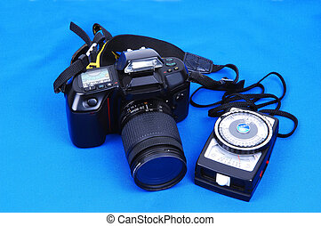 A DSL camera with light meter.