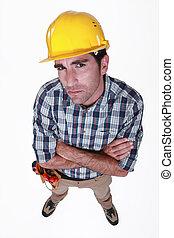 A dubious  construction worker.