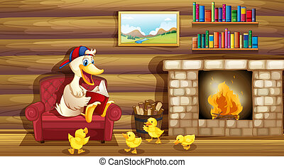 A duck and her ducklings near the fireplace - Illustration...