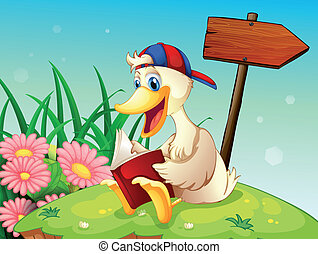 Illustration of a duck at the top of the hill reading near the arrow signboard