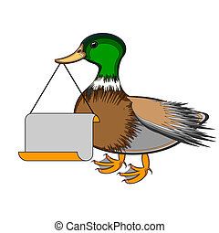 A duck holding a big blank paper