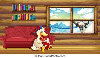 A duck reading near the sofa