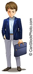 A Dull Businessman on White Background