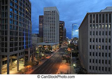 Dusk view of Phoenix city center