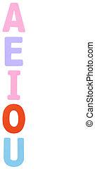 A E I O U Color English Alphabet foam on white background.