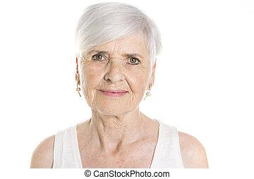 elderly woman on studio white background