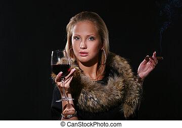 ellegant beautiful woman with wine