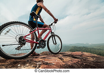 a, ember, noha, a, bicikli