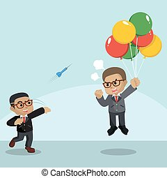 A Employee throwing darts to flying businessman