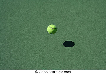 Tennis Court with bouncing ball - A empty green Tennis Court...