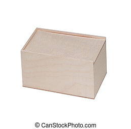 A empty wooden box isolated on white