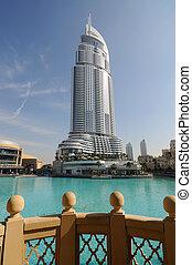 a, endereço, hotel, em, dubai, emirates árabes unidos
