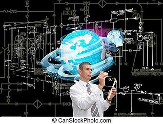a, engenharia, ligar, tecnologia