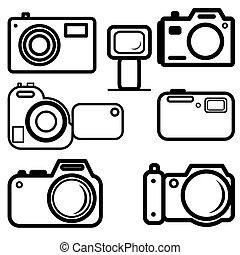 a, ensemble, de, appareils-photo numériques