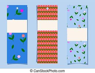 a, ensemble, de, bookmarks., simple, mignon, tulipe, modèle,...