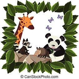 a, ensemble, de, heureux, animal, dans, cadre