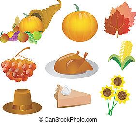a, ensemble, de, thanksgiving, icônes
