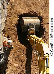 a, escavação, começa