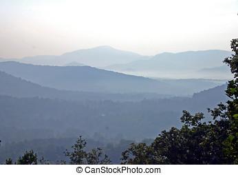 a, esfumaçado, montanhas appalachian