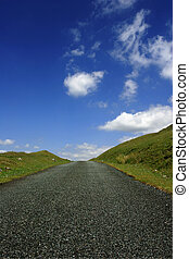 a, estrada, cima, a, colina