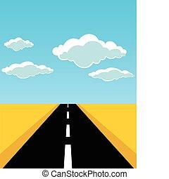 a, estrada, folhas, para, horizon., um, vetorial, ilustração