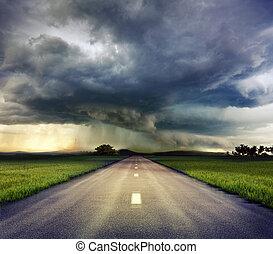 a, estrada, para, tempestade