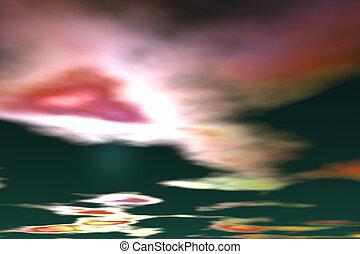 a, estrangeiro, sky., 3d, fazendo