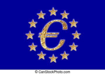 European flag  - A European flag with a Euro sign