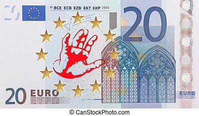 European flag  - A European flag with a refusing hand