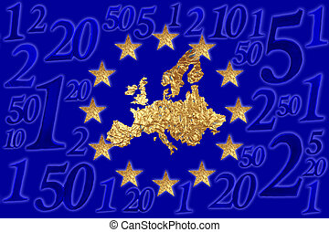 European flag  - A European flag with euro cent numerals