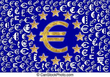 European flag  - A European flag with Euro signs