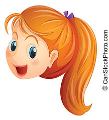 A face of a girl smiling - Illustration of a face of a girl...