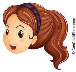 A face of a girl with a headband - Illustration of a face of...