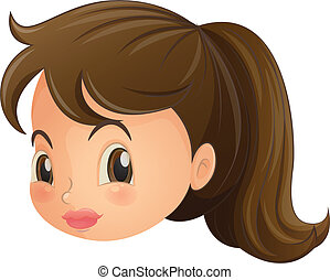 A face of a young woman - Illustration of a face of a young...